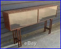 Unusual Mid Century Oak Display Case / Collectors Cabinet On Stand