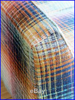 VINTAGE CHROME LEGGED SOFA IN HAMADA WEAVE retro lounge 1960s midcentury