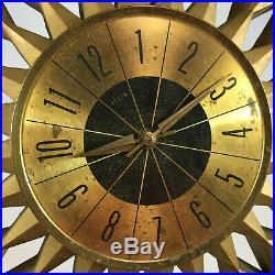 Vintage 50s 60s Atomic Elgin Mid Century Starburst Retro Danish Mod Wall Clock