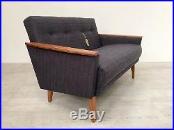 Vintage Danish Inspired MID Century 50s 2 Seater Cocktail Sofa Settee In Teak
