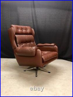 Vintage Danish Swivel Chair Retro Leather Mid Century Lounge