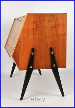 Vintage Danish Teak Record Payer Sideboard, 1960s Scandinavian Retro Mid Century