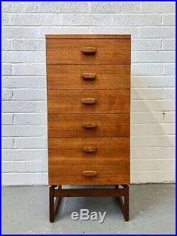Vintage G Plan Quadrille Teak Chest of Drawers. Retro Danish Mid Century G Plan