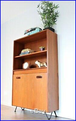 Vintage G plan Bookcase Bureau Cabinet Teak Shelving Hairpin legs Mid Century