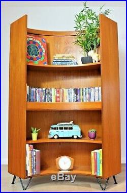 Vintage G plan Bookcase Curved Teak Shelving Scandi Hairpin legs Mid Century