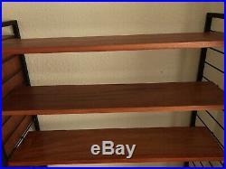 Vintage Ladderax Mid Century Shelving System Shelves Teak Four Bay Modular 60s