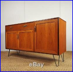 Vintage Mid Century G-Plan Fresco Teak Sideboard Cabinet on Hairpin Legs