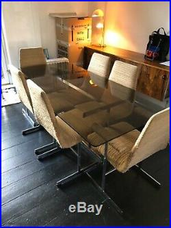 Vintage Mid Century Pieff Smoked Glass Chrome 6 Seater Dining Table And Chairs