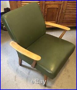 Vintage Mid Century Teak & Faux Leather Easy Armchair