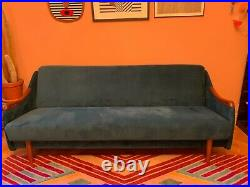 Vintage Retro Danish Sofa Day Bed Mid Century Teal Velvet