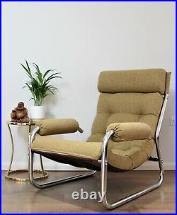 Vintage Retro Danish Tubular Chrome Lounge chair Armchair Mid Century