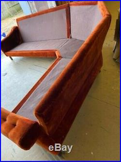 Vintage Retro Danish large corner sofa couch velvet 60s 70s mid century