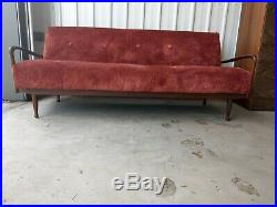 Vintage Retro MID Century Greaves And Thomas Large Teak Sofa / Day Bed Sofa Bed