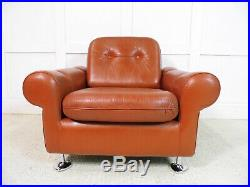 Vintage Retro Mid-Century Danish Designer Leather Armchair Skipper 1960s chic