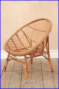 Vintage Retro Mid Century Wicker Cane 60s Easy Tub Chairs (Pair)