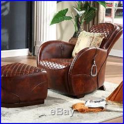 Vintage Timothy Oulton Saddle Armchair And Footstool Ottoman Mid-Century Retro