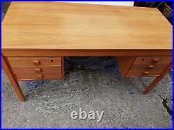 Vintage retro Danish Mid Century oak Teak wooden office work desk 1970s