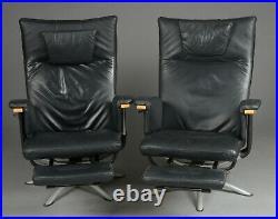 Vintage retro Danish black leather swivel chair armchair mid century recliner