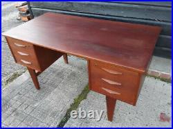 Vintage retro Mid Century Danish teak wooden office work desk 60s 70s drawers