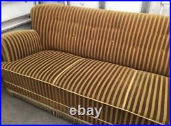 Vintage retro antique art deco mid century Danish 3 seat sofa couch gold velvet