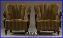 Vintage retro antique mahogany carved Danish chair armchair art deco green x 1