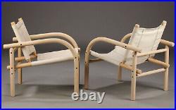 Vintage retro mid century Danish bentwood canvas beige armchair 70s 80s chair x1