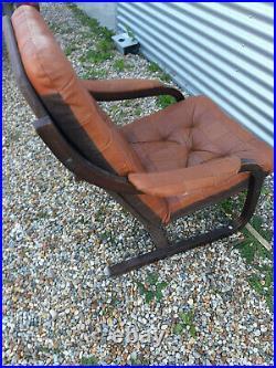 Vintage retro mid century brown leather Danish armchair lounge chair