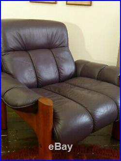 Vintage retro mid century lounge chair Ekornes stressless armchair Nordic Scandi
