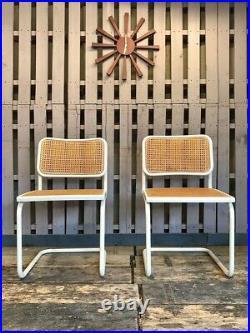 X2 Marcel Breuer Designed Cesca Dining Chairs Vintage Retro Rattan Mid Century