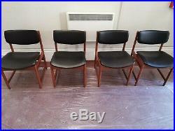 X4 Vintage Retro Mid Century Black Back Dining Chairs Finn Juhl Style
